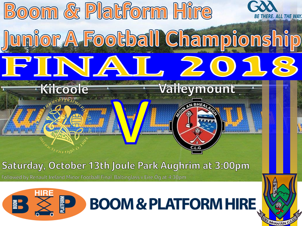 Valleymount and Kilcoole go in search of Junior A glory.
