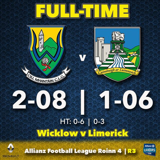 Wicklow defeat Limerick in Aughrim