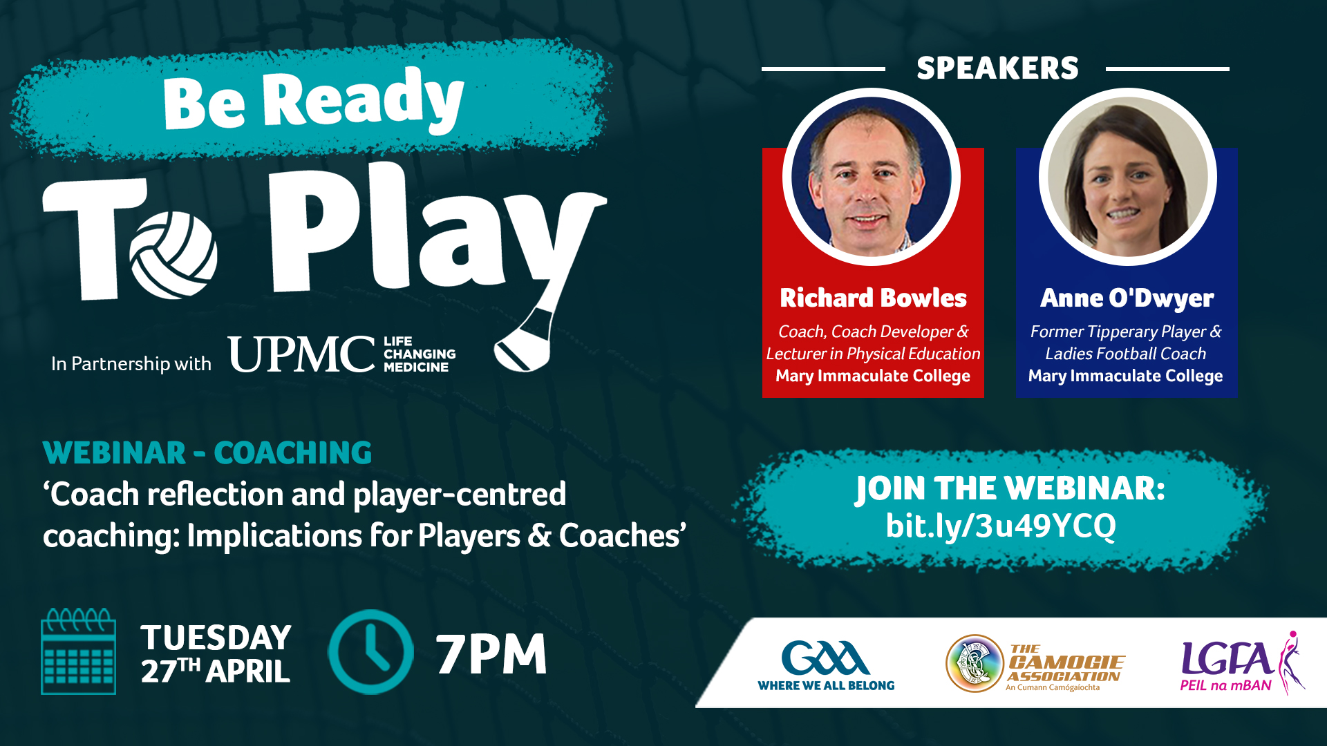 'Be Ready to Play'Coaching webinar – Tuesday April 27th