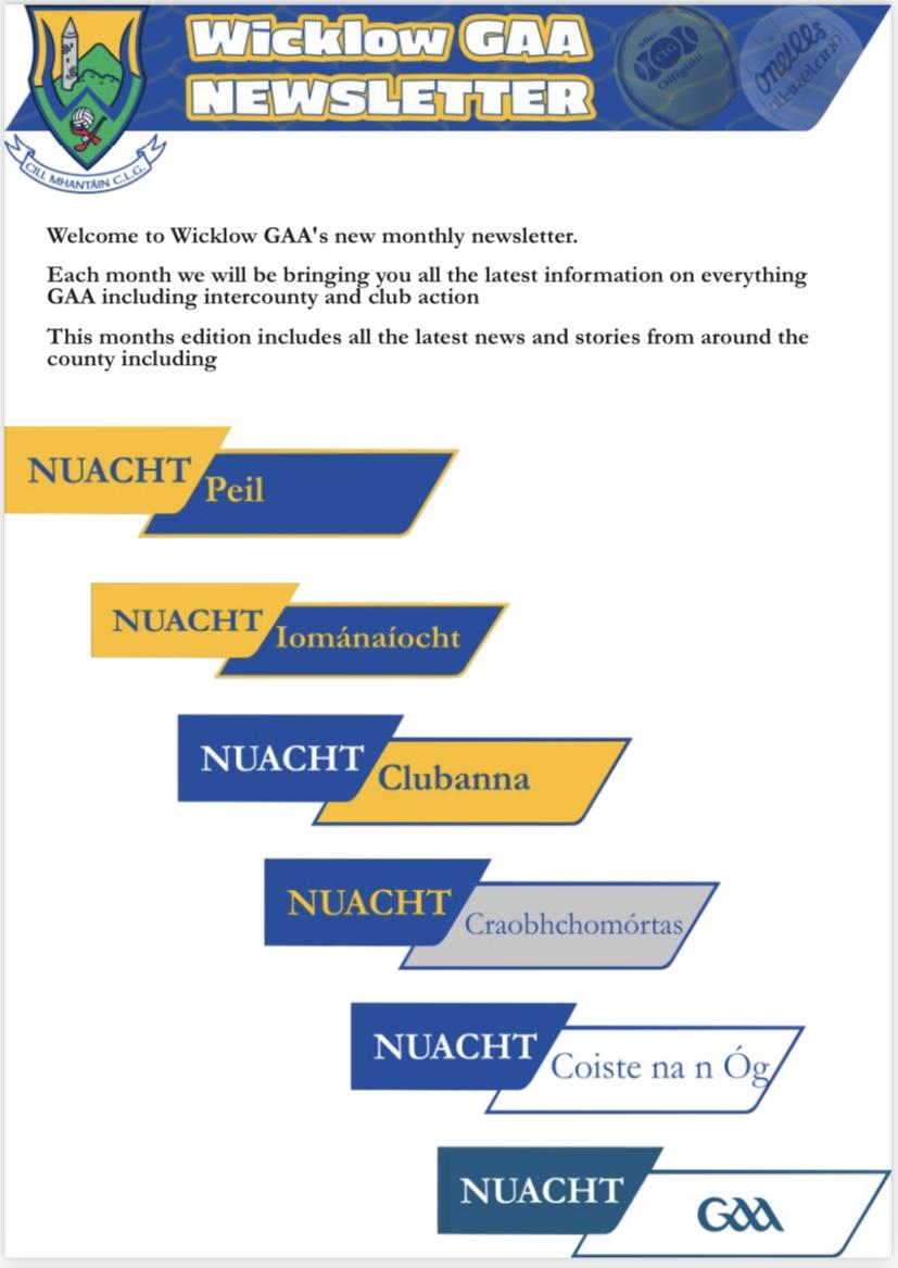 Wicklow GAA Newsletter 01